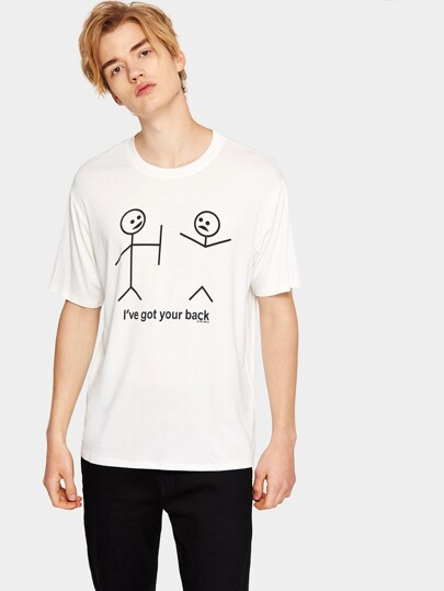 1Plus1 Guys Figure And Letter Print Tee