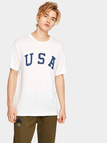Guys American Letter And Flag Print Tee
