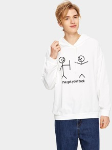 Guys Cartoon And Letter Print Hooded Sweatshirt