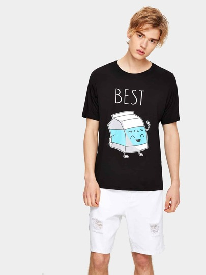 1Plus1 Guys Letter And Cartoon Print Tee
