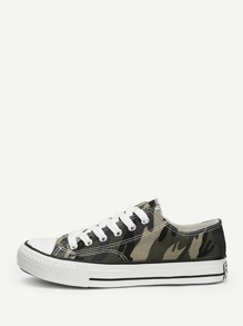 Camouflage Print Lace-up Canvas Sneakers