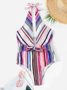 Striped Low Back Halter One Piece Swim