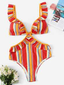 Striped Colorblock Ruffle Tie Back Monokini