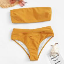 Ribbed Bandeau With Panty Bikini Set