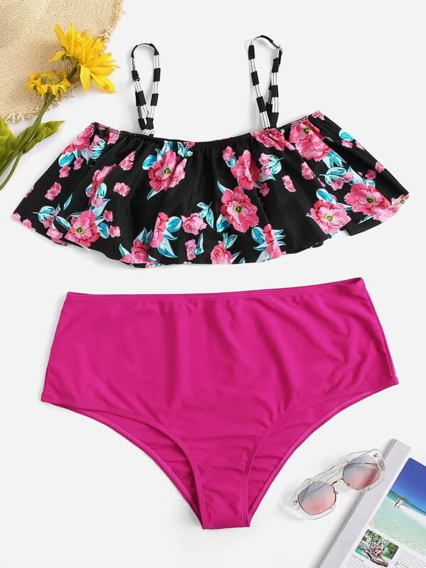 9089e3e12f Plus Floral Flounce Top With High Waist Bikini | SHEIN