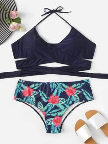 Plus Wrap Halter Top With Tropical Bikini