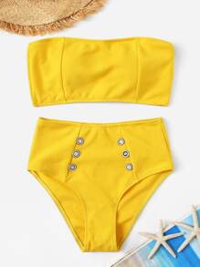 Ribbed Bandeau With Button Decorated High Waist Bikini