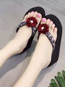 Flower Decor Flip Flops