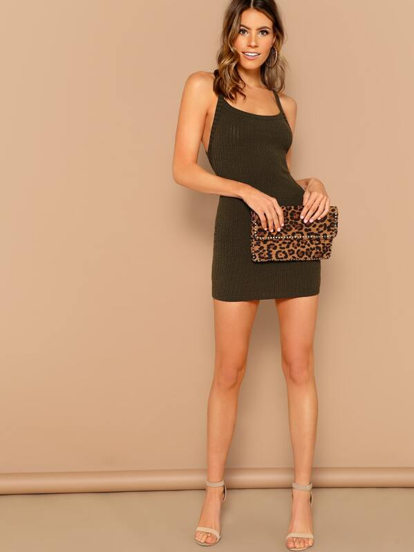 f72bba2105da Criss Cross Back Rib Knit Mini Tank Dress | SHEIN