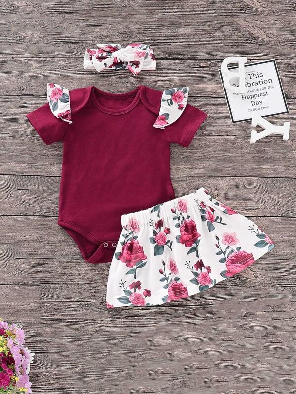 3c9248125d4 Toddler Girls Ruffle Jumpsuit   Floral Print Skirt   Headband