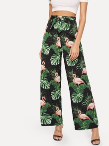 Flamingo And Plants Print Belted Pants