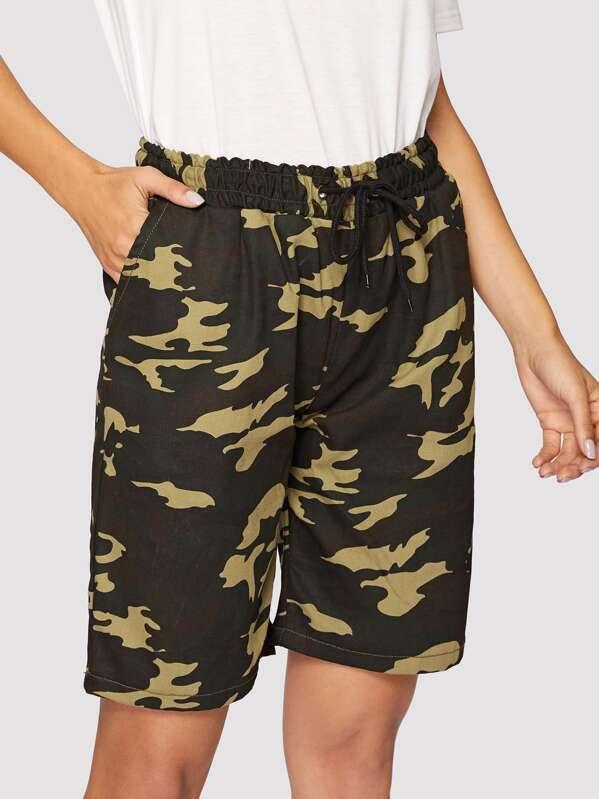 762964a7ec Camo Print Pocket Detail Drawstring Waist Denim Shorts | SHEIN