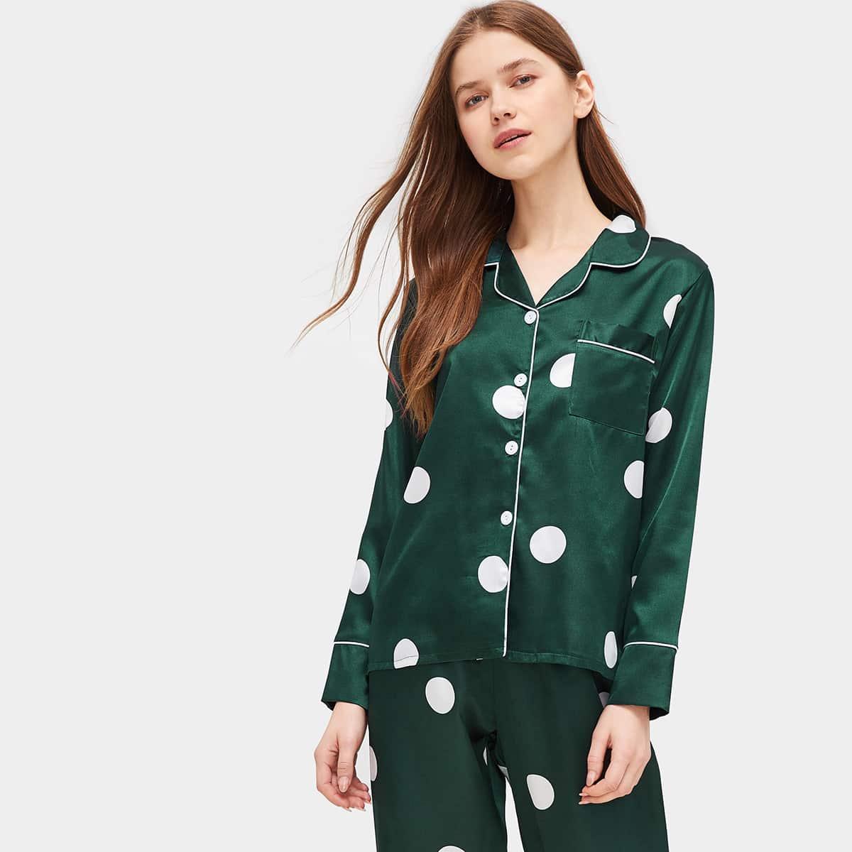 Атласная пижама комплект в горошек