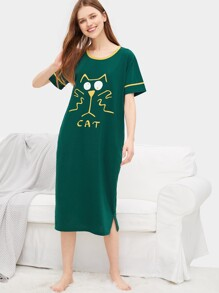 Cat & Letter Graphic Night Dress