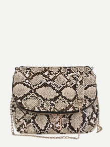 Double Tassel Snakeskin Crossbody Bag