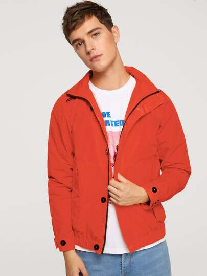 Men Zip and Button Placket Hoodie Jacket