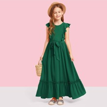 Girls Ruffle Trim Belted Textured Maxi Dress