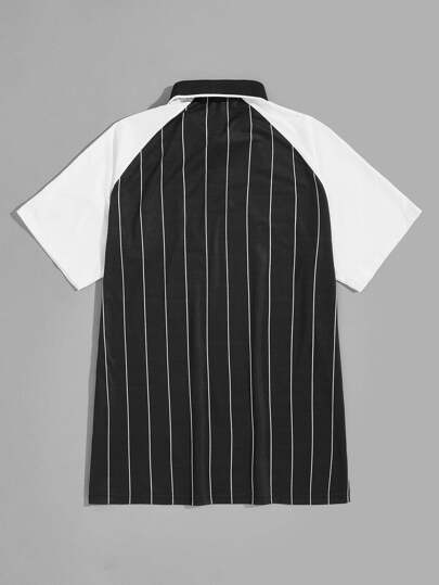 9ed262fd Guys Letter Patched Vertical Striped Two-tone Polo Shirt | ROMWE