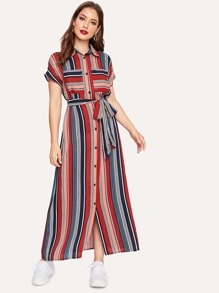 Colorful Striped Belted Hijab Shirt Dress