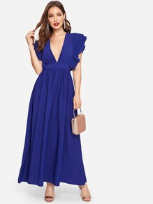 Plunging Neck Ruffle Trim Dress