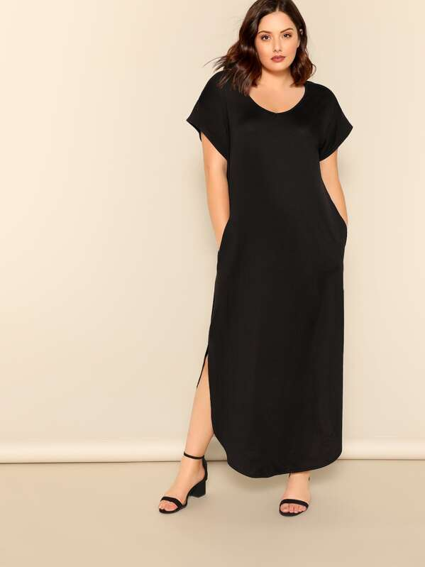 2434b64b074 Plus Slant Pocket M-slit Hem Maxi Dress