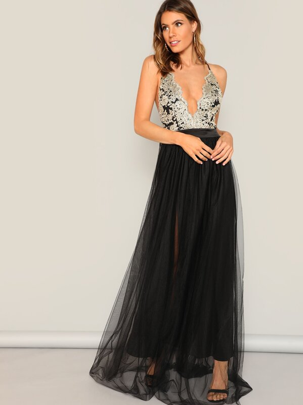7ba486c7 Crisscross Mixed Media Flowy Dress | SHEIN UK