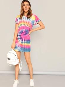 811d2d2938 Rolled Sleeve Tie Dye T-shirt Dress