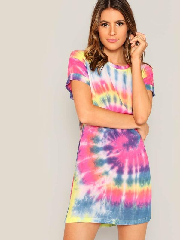 46883de319b Rolled Sleeve Tie Dye T-shirt Dress