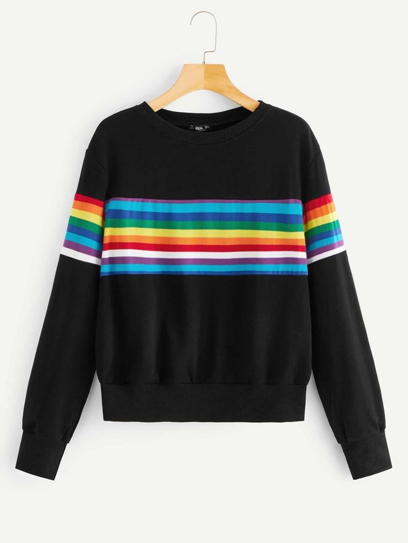 a807ff2133ce Pull-over con rayas de arco iris al azar
