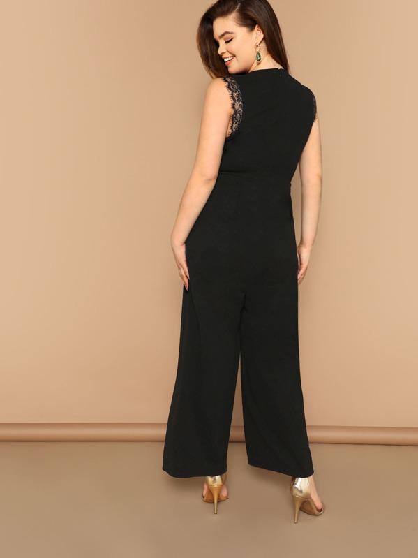 7fde6363dce7 Cheap Plus Lace Insert V-neck Wide Leg Jumpsuit for sale Australia ...