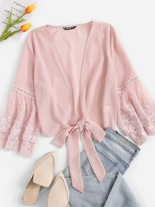 Embroidered Mesh Bell Sleeve Knotted Kimono
