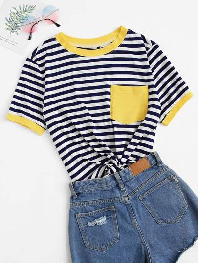 Contrast Pocket Striped Ringer Tee