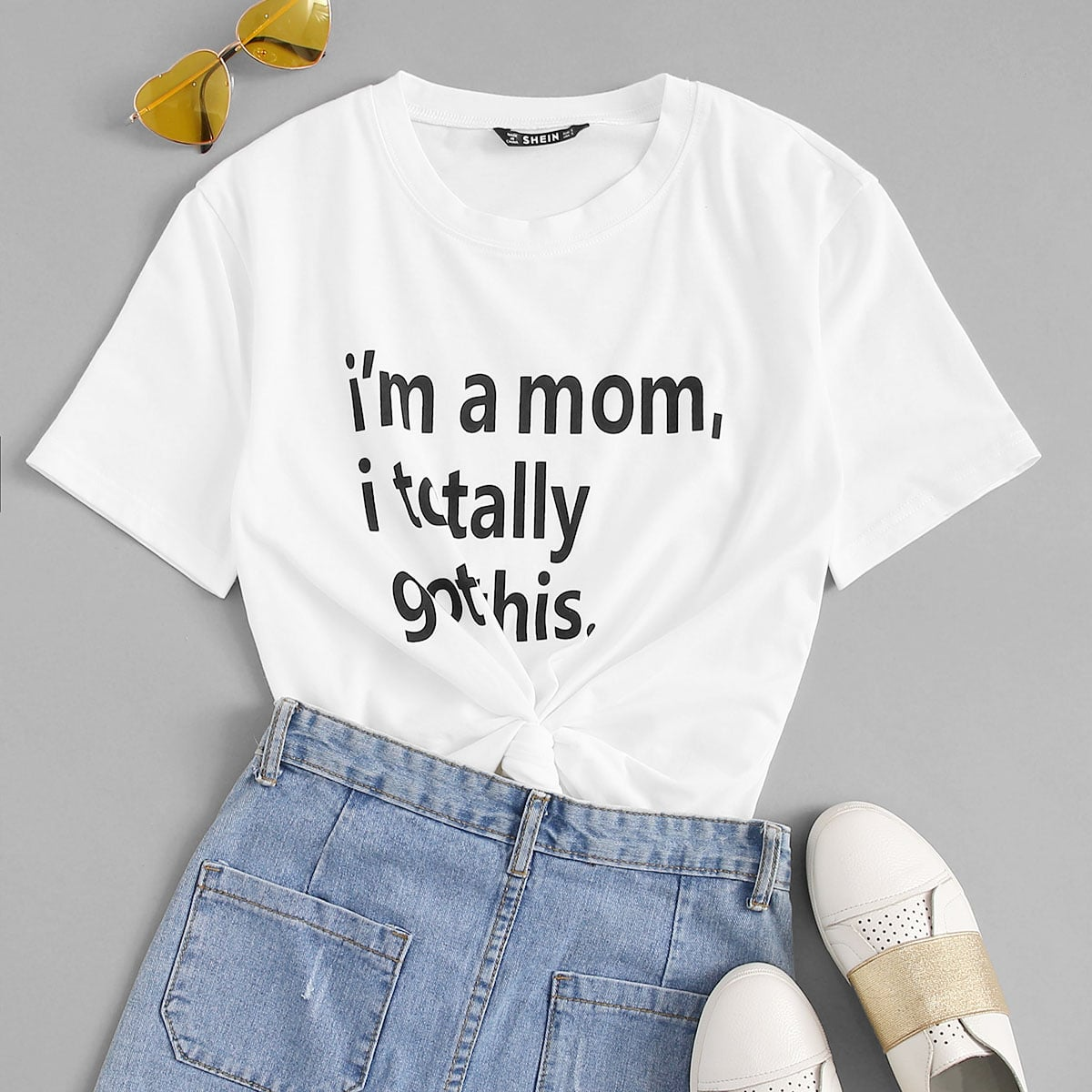 SHEIN coupon: I am a Mom Graphic Short Sleeve Tee
