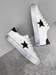 Star Patch Decor Lace-up Sneakers