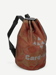Slogan Detail Mesh Drawstring Backpack