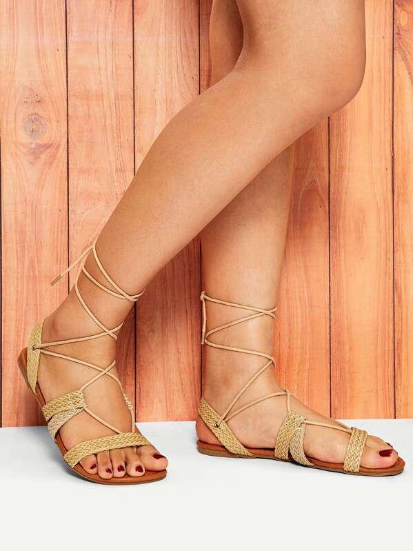 afbb8e6f7a3 Weave Detail Tie Leg Flat Sandals