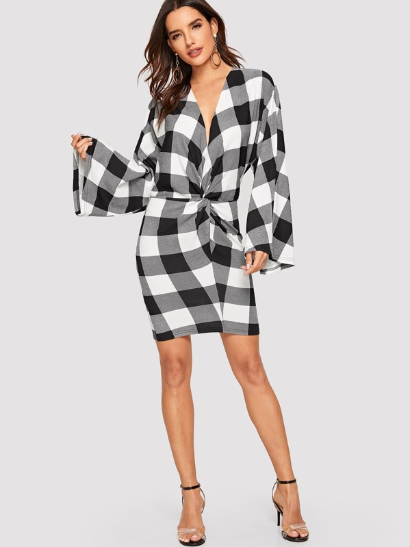 Plunging Neck Twist Front Plaid Dress by Shein