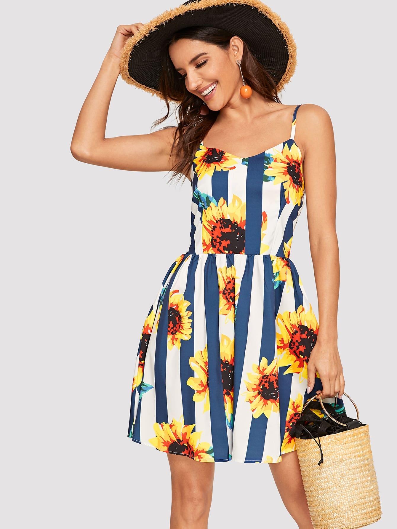 Sunflower & Stripe Print Cami Dress by Romwe