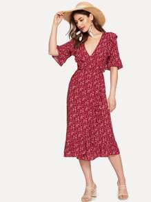 Surplice Neck Ruffle Belted Ditsy Floral Dress