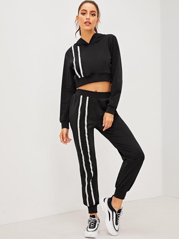15e1722a99e014 Striped Drawstring Hoodie   Sweatpants Set