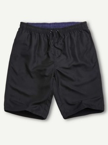Men Drawstring Solid Bermuda Shorts
