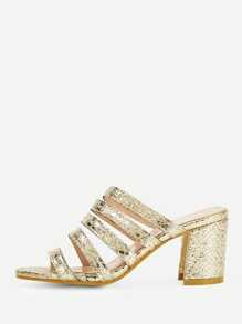 Metallic Detail Strappy Chunky Heels