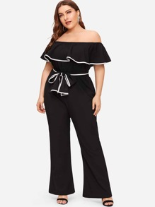 Plus Off Shoulder Ruffle Contrast Trim Jumpsuit