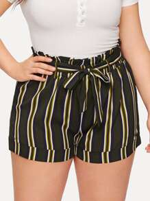 Plus Striped Self Tie Shorts