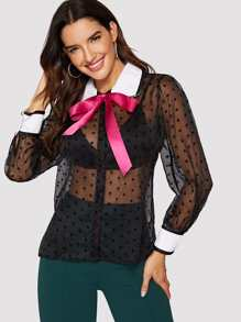 Star Mesh Sheer Tie Neck Blouse