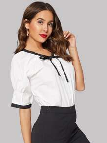Tie Neck Pleated Cuff Blouse