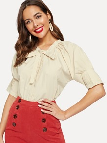 Tie Neck Pleated Cuff Solid Blouse