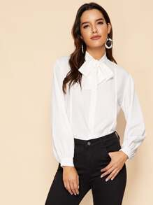 Button Through Tie Neck Blouse