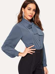 Tie Neck Seam Detail Blouse