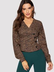 Button Front Cheetah Print Blouse